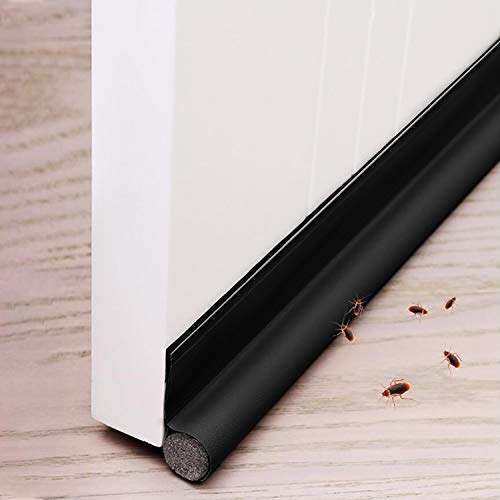 Xnuoyo 96 cm Tope para puertas Burlete Puerta Burlete Autoadhesivo Se puede cortar a medida Antipolvo Aislamiento Acústico Prueba De Viento y Agua Tira flexible de sellado un lado