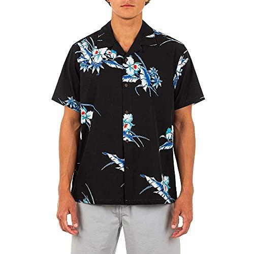 Hurley Men's Phantom Aloha Friday Short Sleeve Shirt, Black, Medium