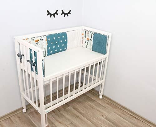 ULLENBOOM Protector para bordes de cuna │ Chichonera bebé también para colecho │ Parachoques de algodón 170x30 cm │ bosque verde azul
