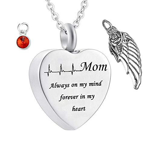 Daesar Stainless Steel Necklace Letter Cremation Necklace Wings Heart Shape ECG Engraved Ashes Necklace Mom Always on My Mind. Customizable Necklace Birthstone January