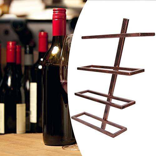 Estante para Botellas, Soporte para Vino de Hierro Estante para Vino montado en la Pared para el Pasillo o el baño de la Bodega(Inclined Wine Rack 4 Bottles of Bronze)