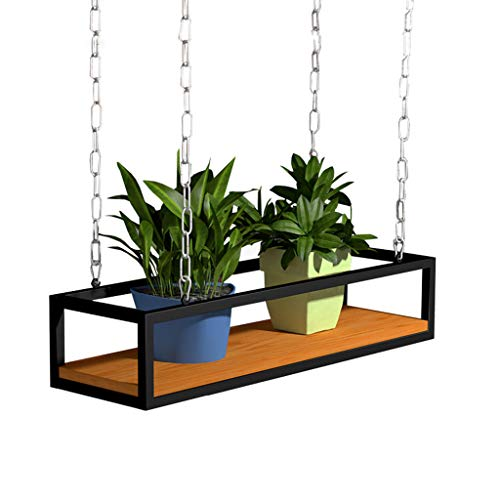 Vintage massief hout plafond gemonteerd opknoping bloem rekken|Verstelbare hoogte opslag plank keuken/bar/restaurant Plafond-type Plant rekken houder