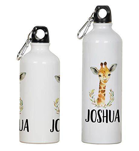 Printtoo Borraccia Personalizzata per Bambini Giraffa Borraccia Sportiva in Alluminio Stampato con Moschettone 650ml/21.9oz