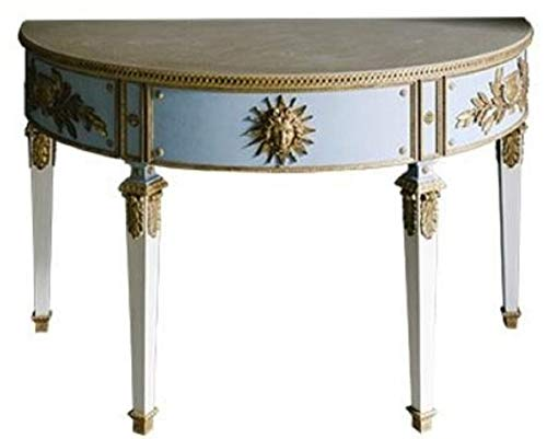 Casa Padrino Barock Konsole Blau/Weiß/Gold 150 x 75 x H. 91 cm - Handgefertigter Halbrunder Antik Stil Konsolentisch