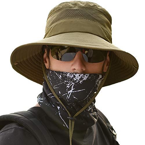 サファリハット メンズ 【メッシュ通気構造 UVカット UPF50+】 ハット 帽子 つば広 大きいサイズ 速乾・軽薄・通気性抜群・紫外線対策・折りたたみ あご紐付き アウトドア 釣り ハイキング 登山 レディース 男女兼用 (#4.グリーン)