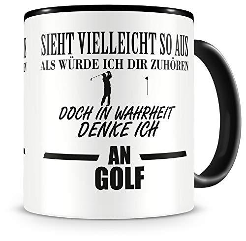Samunshi® Ich denke an Golf Tasse Kaffeetasse Teetasse Kaffeepott Kaffeebecher Becher H:95mm/D:82mm schwarz