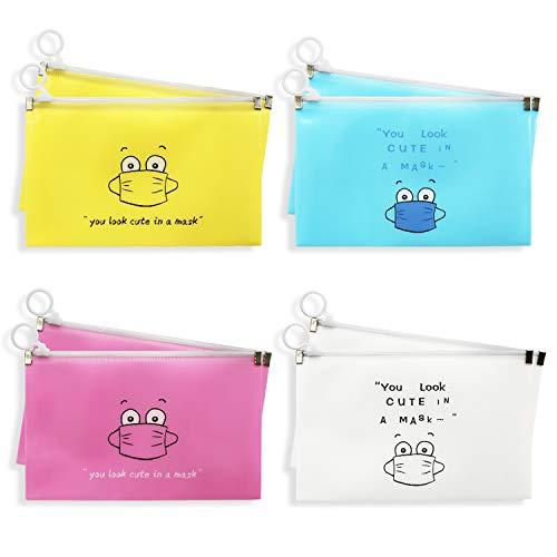 ZoWe 8 Stücke Masken-Aufbewahrungstasche, tragbare Maskentasche Aufbewahrungskoffer für die Gesichtsabdeckung Tragbare Gesichtsabdeckungs Tasche Staubdichte Aufbewahrung