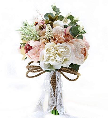Fouriding Ramo de boda de estilo vintage campestre artificial de flores sedosas para novia, ramo de novia, decoración de boda