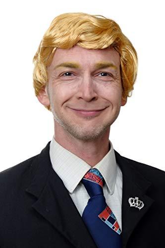 WIG ME UP - TL-001 Parrucca Uomo Riga Carnevale US Presidente Reality Soap Attore Biondo Biondo Oro