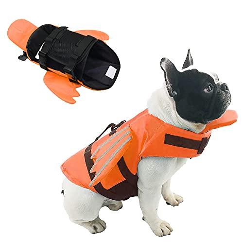 SILD Chaleco Salvavidas Ajustable para Perros Salvavidas de Seguridad Chaleco Reflectante para Mascotas Salvavidas Salvavidas Perro Salvavidas Chaleco Surfing Boating Caza (Naranja, L)