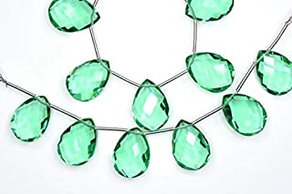 Jewel Beads Natural Beautiful jewellery 2 Strands AAAA 3 Pairs/Strand Calibrated 12x16mm Florite Green Quartz Microfaceted Pear Briolette BeadsCode:- JBB-34406