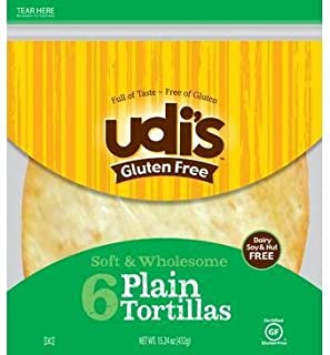 "Udi's Gluten Free 9"" Plain Tortillas 6 in Each pack(2pk)"