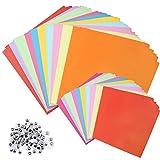 D-Orange 200 hojas de papel origami de color para decoración de niños, papel de doble cara, cuadrado plegable, con 100 ojos animados para proyectos de arte y manualidades, 15 x 15 cm/10 x 10 cm