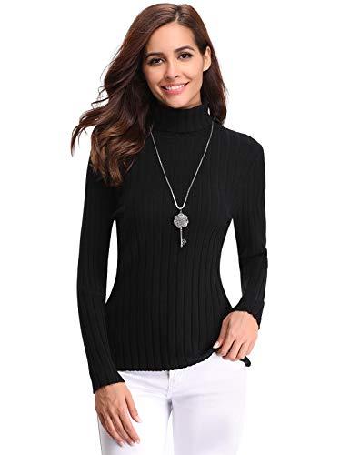 Aibrou Suéter de Cuello Alto para Mujer, Sólido Ligero y Elásticas Suaves Géneros de Punto de Manga Larga Suéter Jumper