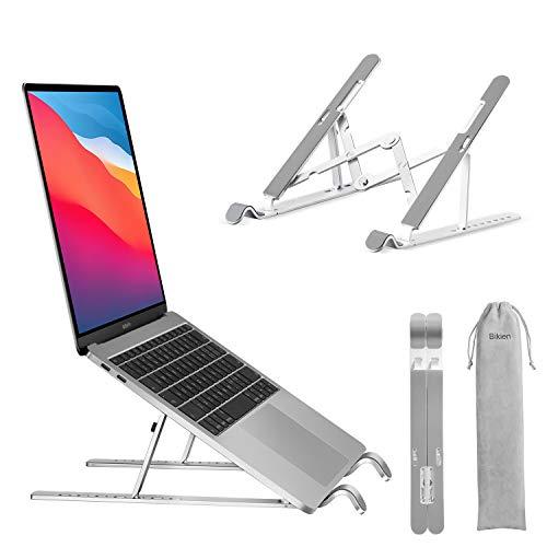 Laptop Ständer, 9-Stufe Tragbar Höhenverstellbarer Laptop Stand, Aluminium Belüfteter Universal- Notebook Ständer Kompatibel mit alle Laptops Tablet (bis zu 18 Zoll), Silber