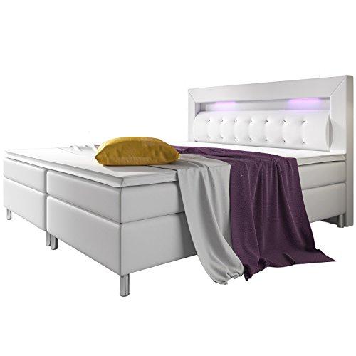 ArtLife Boxspringbett Montana 140 x 200 cm weiß – Komplett Set mit Matratze und Topper – LED-Licht im Kopfteil – Bett aus Kunstleder und Holz - modern