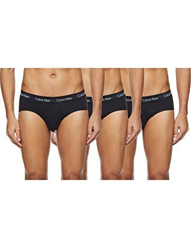 Calvin Klein 3 Pack Briefs-Cotton Stretch Slips, Negro (Black W. Black WB Xwb), M (Pack de 3) para Hombre
