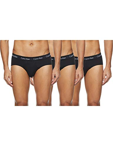 Calvin Klein Underwear Herren Cotton Stretch Slip 3er Pack, Schwarz (Black W. Black Wb Xwb), L