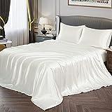 Vonty Satin Sheets Full Size Silky Soft Satin Bed Sheets Ivory White Satin Sheet Set, 1 Deep Pocket + 1 Fitted Sheet + 1 Flat Sheet + 2 Pillowcases