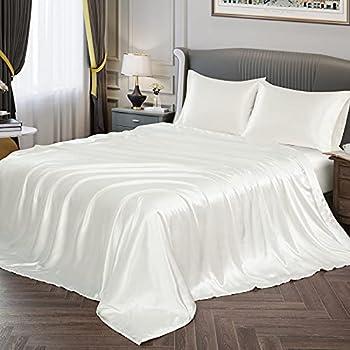 Vonty Satin Sheets Twin Silky Soft Satin Bed Sheets Ivory White Satin Sheet Set 1 Deep Pocket Fitted Sheet + 1 Flat Sheet + 1 Pillowcases