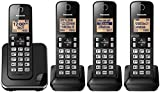 Panasonic KXTGC384B Dect 6.0 4-Handset Landline Telephone