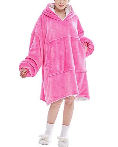 YAOTT Damen Sweatshirtdecke Mit Kapuze Superweich Warm flauschig Nachthemd TV Bettdecke Solide Fronttasche Übergroßer Hoodie Kapuzenpullover Rose one Size