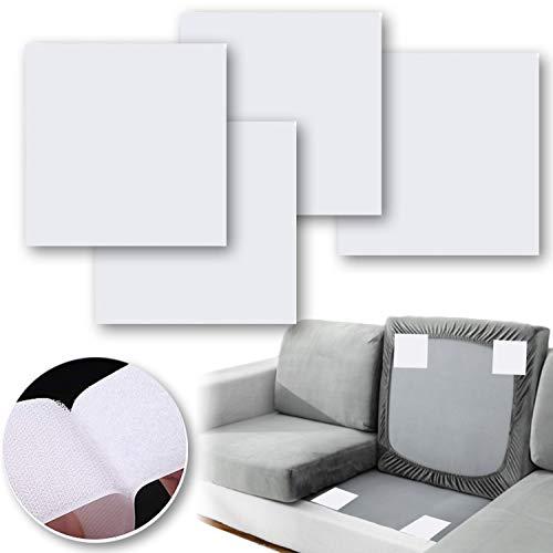 4 x Couchkissen, rutschfeste Pads, Couch-Unterstützung für schlaffe Sushions, machen Couch fixiert, selbstklebende Kissen, rutschfeste Pads zur Verringerung des Rutschens der Couch (weiß)
