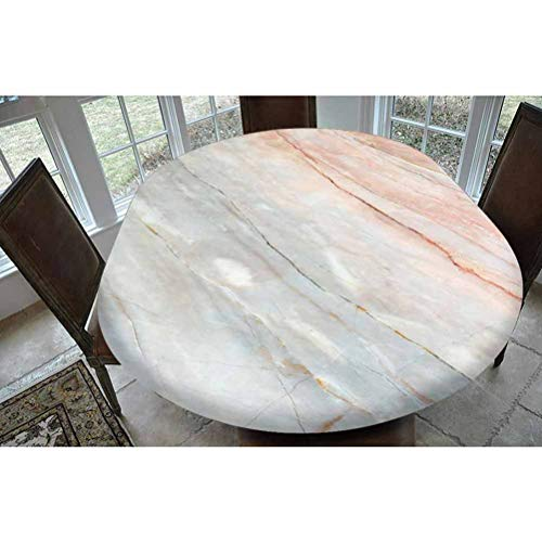 Marble Polyester Fitted Tablecloth,Onyx Stone Textured Natural Featured Authentic Scratches Artful Illustration Decorative Oblong Elastic Edge Fitted Table Cover,Fits Oval Tables 68x48' Peach Pale Gre
