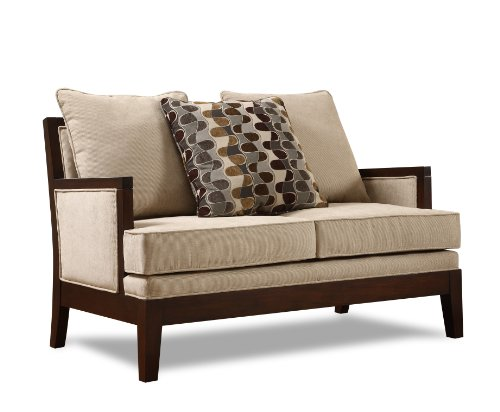 Big Sale Homelegance 9918FA-2 Dalton Collection Love Seat, Beige Chenille-like Corded Microfiber with Show-wood Frame