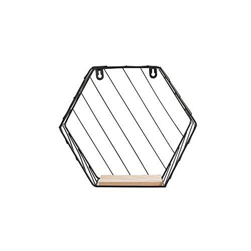 LRHD Unidad hexagonal estante de la pared de madera y metal estante de montaje pre-ensamblados decorativo estante flotante estante de la cocina y el dormitorio principal Artículos de decoración (Negro