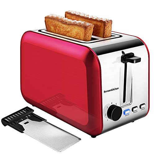 2 Slice Red Toasters, Bonsenkitchen Stainless Steel Wide Slot Bread Toaster with Defrost/Reheat/Cancel Function, 7 Brown Setting, Removable Crumb Tray, Auto Shut Off, 750 Watt, 120V