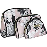 Nicole Miller 3 Pc Cosmetic Bag Set, Purse Size Makeup Bag for Women, Toiletry Travel Bag, Makeup Organizer, Zippered Pouch Set, Large, Med, Small (Pale Pink & Black Floral Print)