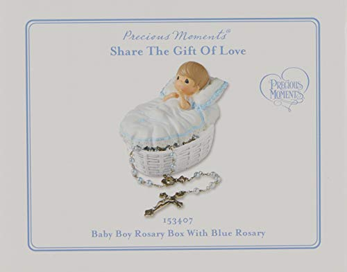 Product Image 4: Precious Moments, Baptized In His Name Resin Box With Rosary, For Boy, 153407,Boy Rosary
