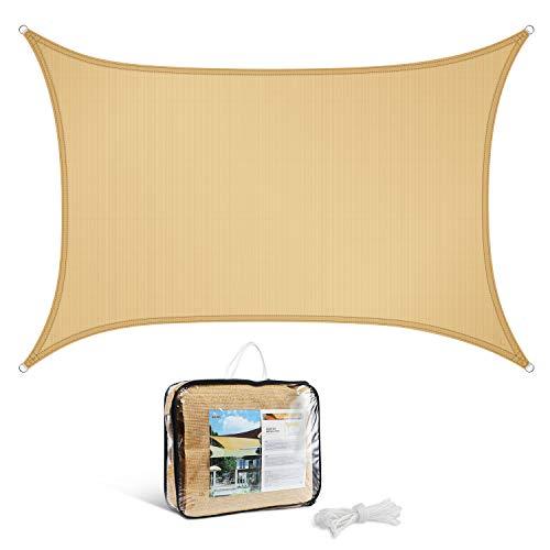 Levesolls Tenda a Vela Rettangolo 3×2 m, Impermeabile/Antivento/Protezione UV, Sabbia