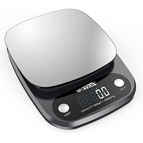 WOTEK Báscula de Cocina Digital, Báscula de Cocina de Acero Inoxidable, Báscula Digital para Cocina con Precisión de 0,1 gy 1 g, Balanza de Cocina de 10kg/22lbs, Peso de Cocina con Pantalla LCD