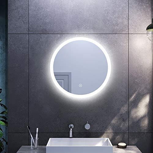 Sonni Rundspiegel mit Beleuchtung 60cm LED Rundspiegel Beschlagfrei Kaltweiß Wandspiegel mit Anti-Fog-Funktion Badezimmerspiegel Lichtspiegel mit Touchschalter
