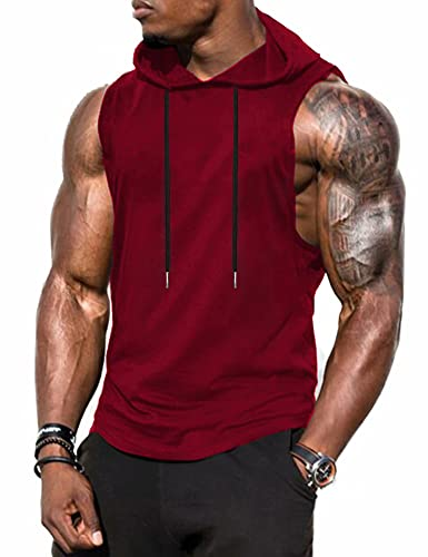 Babioboa Men's Athletic Sleeveless Hoodie Workout Hooded Tank Top Bodybuilding Muscle Cut Off T-Shirt(Wine Red Large)
