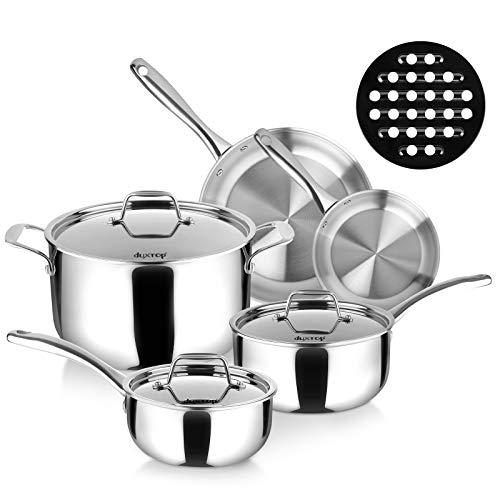 Duxtop Whole-Clad Tri-Ply Stainless Steel Induction Cookware Set, 9PC Kitchen Pots and Pans Set