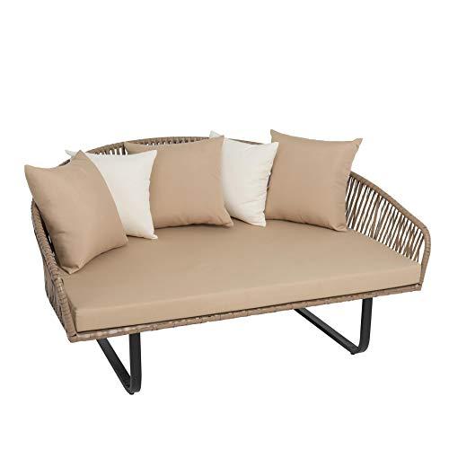 ESTEXO Polyrattan Sofa beige, halbrund, XXL, modernes Design in Seiloptik, 160 cm breit