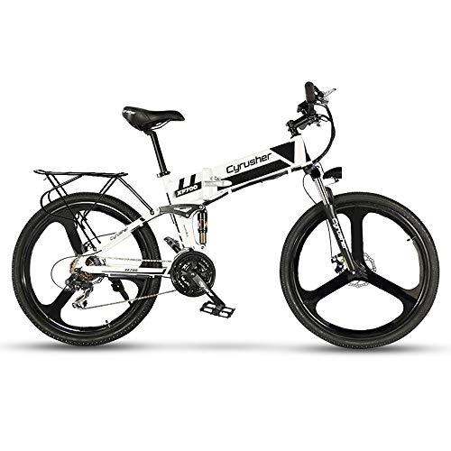 Cyrusher XF700 Electric Bike 400 Watt 21 Speeds Mountain Electric Bike with 36V 10.4ah Battery Folding Bike (Yellow)