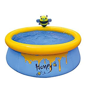 BLENGA Verano inflable de abeja piscina al aire libre patio trasero PVC inflable bañera rociar piscina niños adultos niños pequeños jardín bañera portátil 150x150x41cm