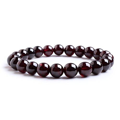 Candyfancy Armbänder Damen 8MM Perlen Granat Armband Bergkristall Bead Elastisch Natürlich Stein Frauen