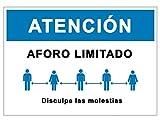Señalización Aforo Coronavirus | Cartel Aforo Limitado para terraza, bar, restaurante, iglesia | Señal COVID 19 Autoinstalable | 21 x 30 cm | Descuentos por Cantidad