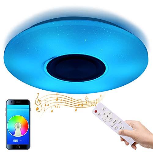 Tycolit LED Deckenleuchte Bluetooth Lautsprecher mit APP Fernbedienung 36W Farbwechsel Dimmbar 3000-6500 RGB LED Musik Deckenlampe Kinderzimmer Wohnzimmer Schlafzimmer Warmweiss Kaltweiss