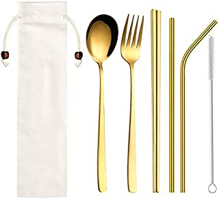 Korean Dinnerware Set Stainless Steel Portable Cutlery Chopsticks Fork Spoon with Metal Straws Cocktail for Travel Cutlery Set - red dinnerware s