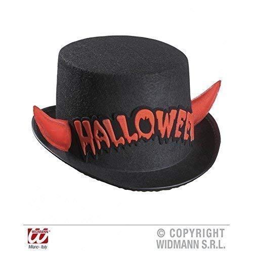 Lively Moments Cylindre/Chapeau en Noir avec Cornes et Inscription en Rouge/ Halloween/Carnaval