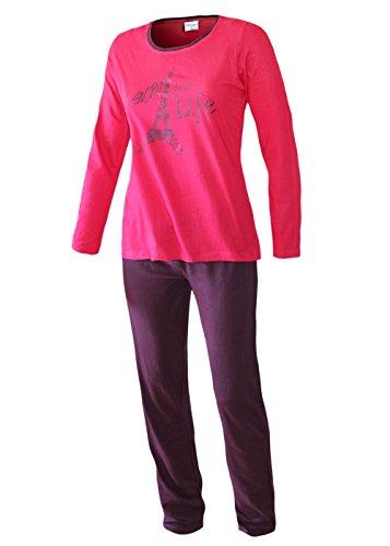 Damen Schlafanzug lang Pyjama Langarm Langer Damen Nachtanzug Hausanzug Damenschlafanzug weich und warm aus 100% Baumwolle (L/44-46, Eifelturm Pink)