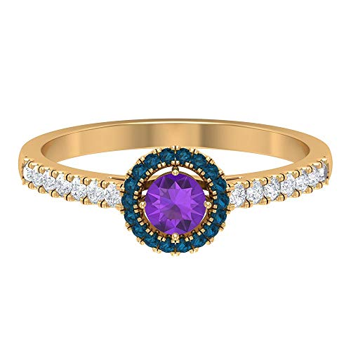 Anillo de amatista y diamante de 1/2 quilates, anillo de halo de topacio azul Londres, anillo solitario de 4 mm con piedras laterales, anillo de compromiso de oro de 14 quilates morado