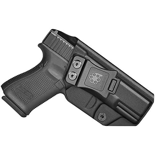 Amberide IWB KYDEX Holster Fit: Glock 19 19X 23 32 45 (Gen 1-5) Pistol | Inside Waistband | Adjustable Cant | US KYDEX Made (Black, Left Hand Draw (IWB))