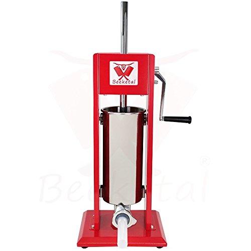 Beeketal 'MT05' Profi Gastro Wurstfüllmaschine (5 Liter) SGS-geprüft, Wurstfüller mit 2 Gang Vollmetall-Getriebe und Handkurbel, Gehäuse aus Stahl (rot lackiert), inkl. 4 Fülltüllen